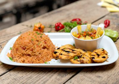 Jolof rice with plantain chips at Ruby Tuesday's Soul Food Dublin