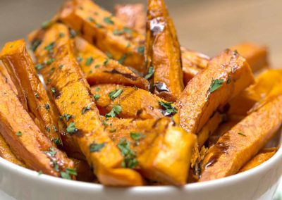 Sweet potato fries with colourful garnish at Ruby Tuesday's Soul Food Dublin